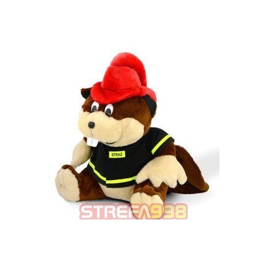 Maskotka bóbr strażak