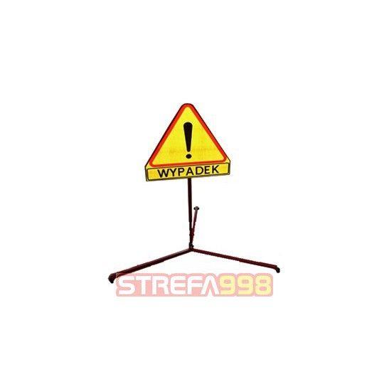 """Znak drogowy """"WYPADEK"""" na stojaku"""